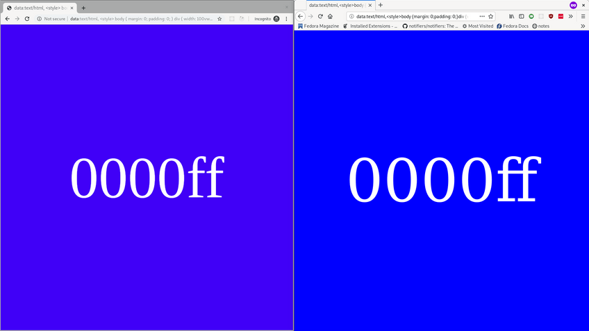 Difference between Firefox and Chromium color